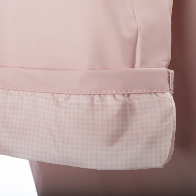 Lined Rain Slicker in Blush Cuff Close Up Gingham Lining
