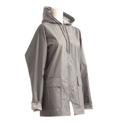 Lined Rain Slicker in Charcoal Side Profile