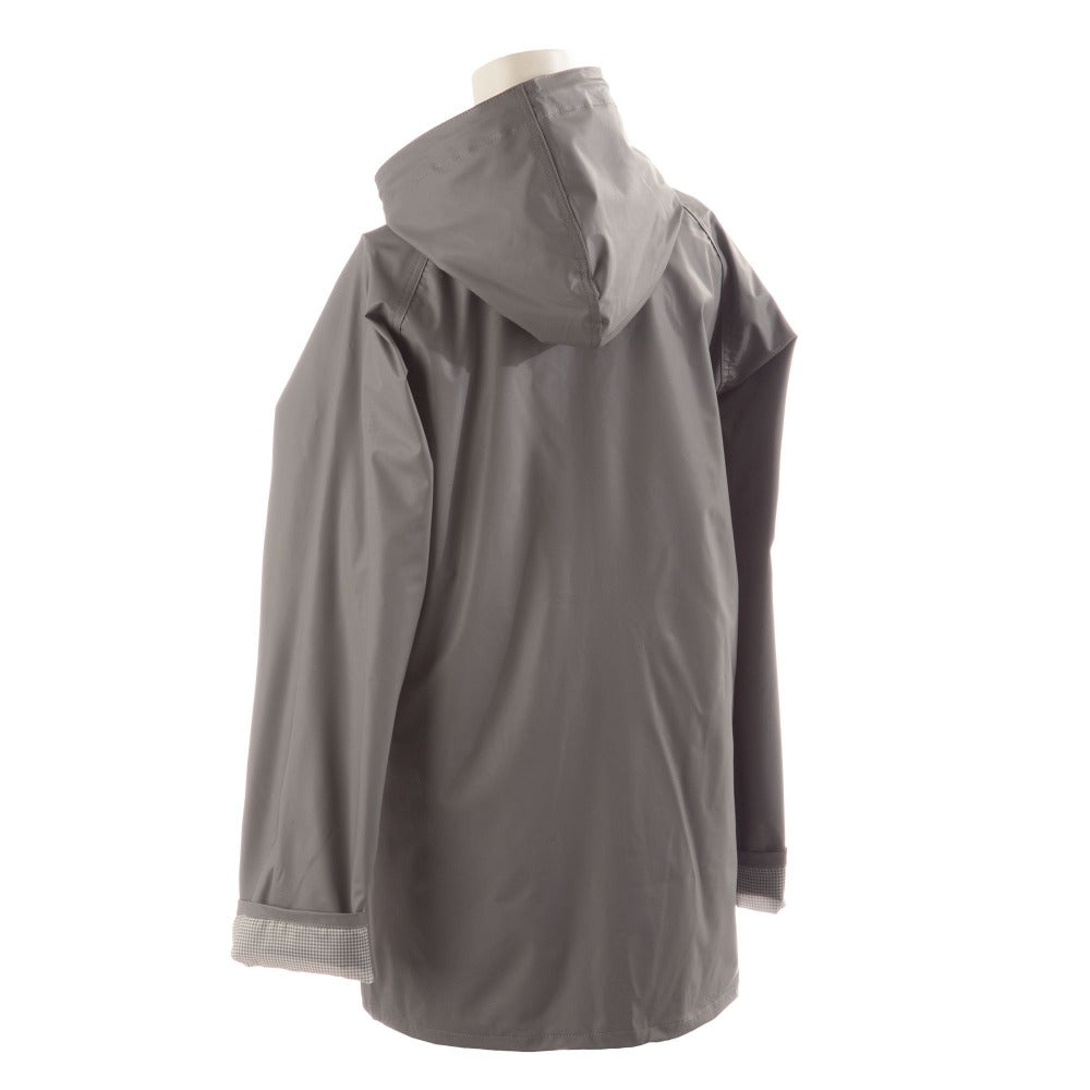Lined Rain Slicker in Charcoal Back Hood View
