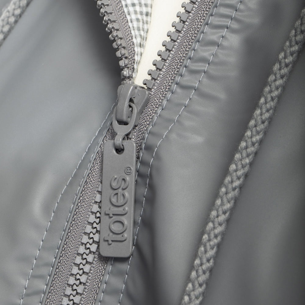 Lined Rain Slicker in Charcoal Zipper Close Up