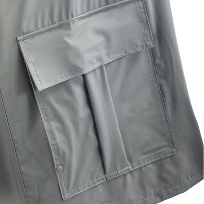 Lined Rain Slicker in Charcoal Pocket Close Up