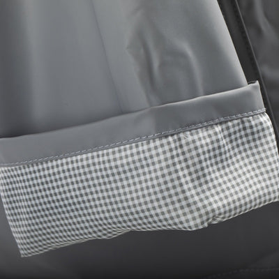 Lined Rain Slicker in Charcoal Cuff Close Up Gingham Lining