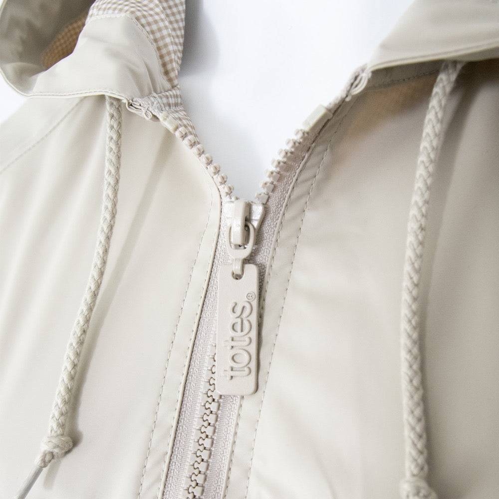 Lined Rain Slicker in Khaki Close Up on Zipper