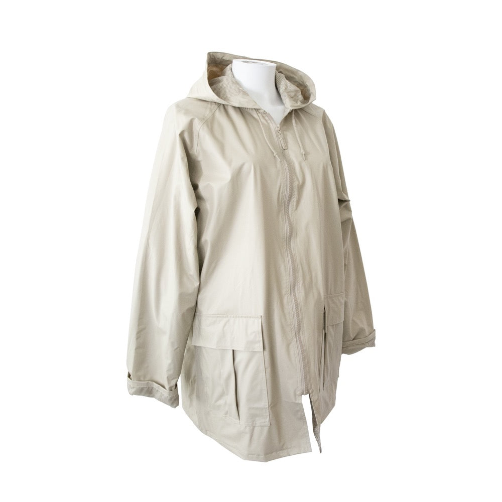 Lined Rain Slicker in Khaki Side Profile
