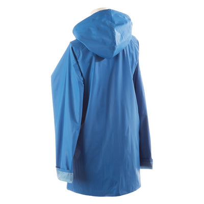 Lined Rain Slicker in Marine Back Hood View