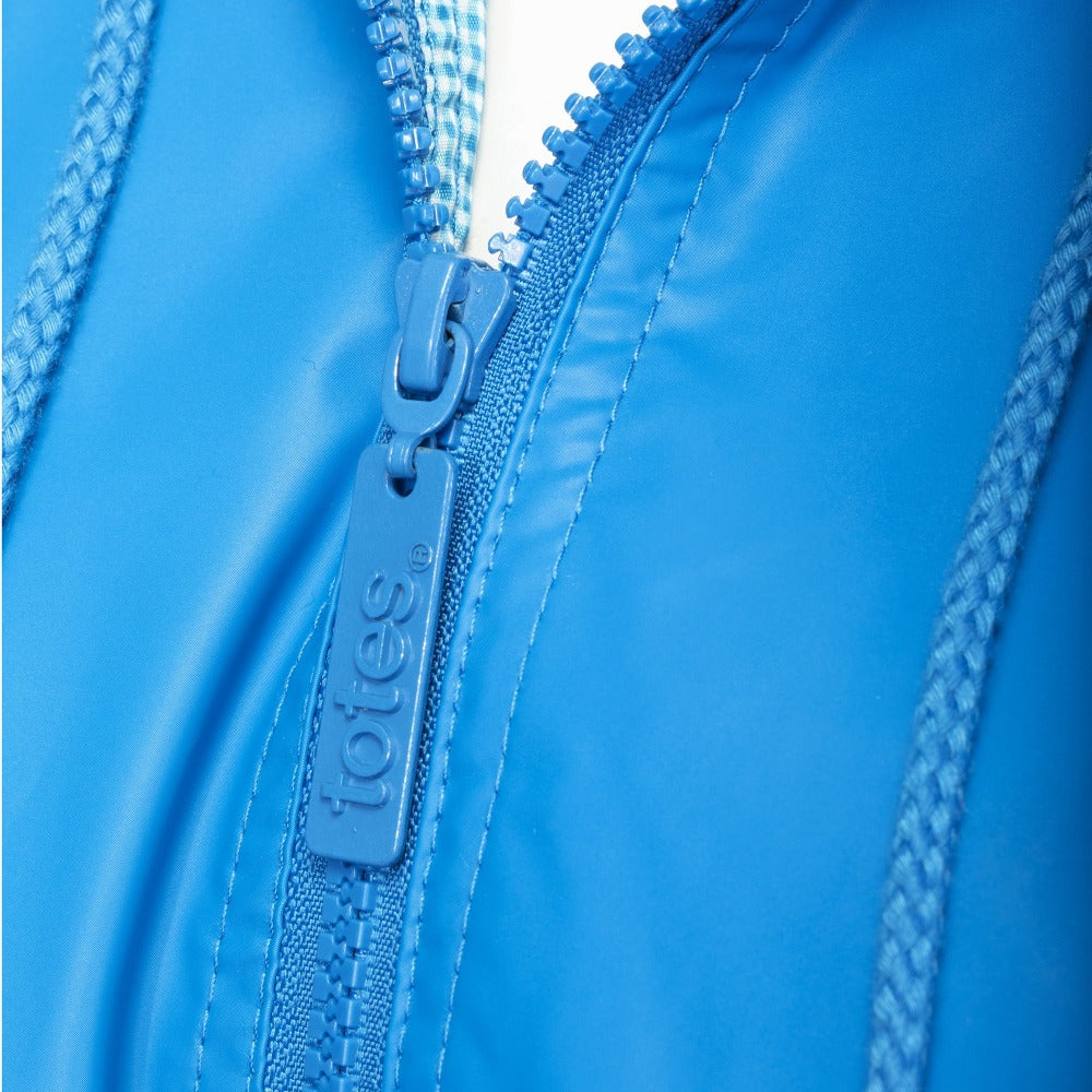 Lined Rain Slicker in Marine Zipper Close Up