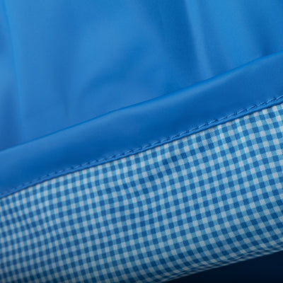 Lined Rain Slicker in Marine Cuff Close Up Gingham Lining