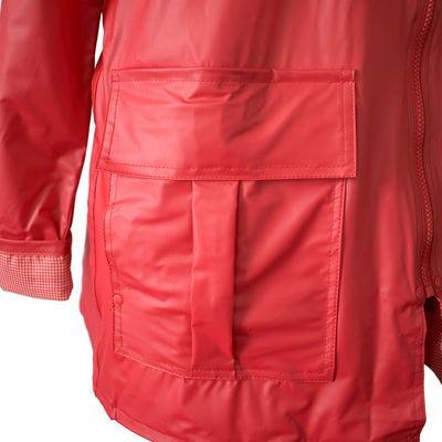 Lined Rain Slicker in Red Pocket