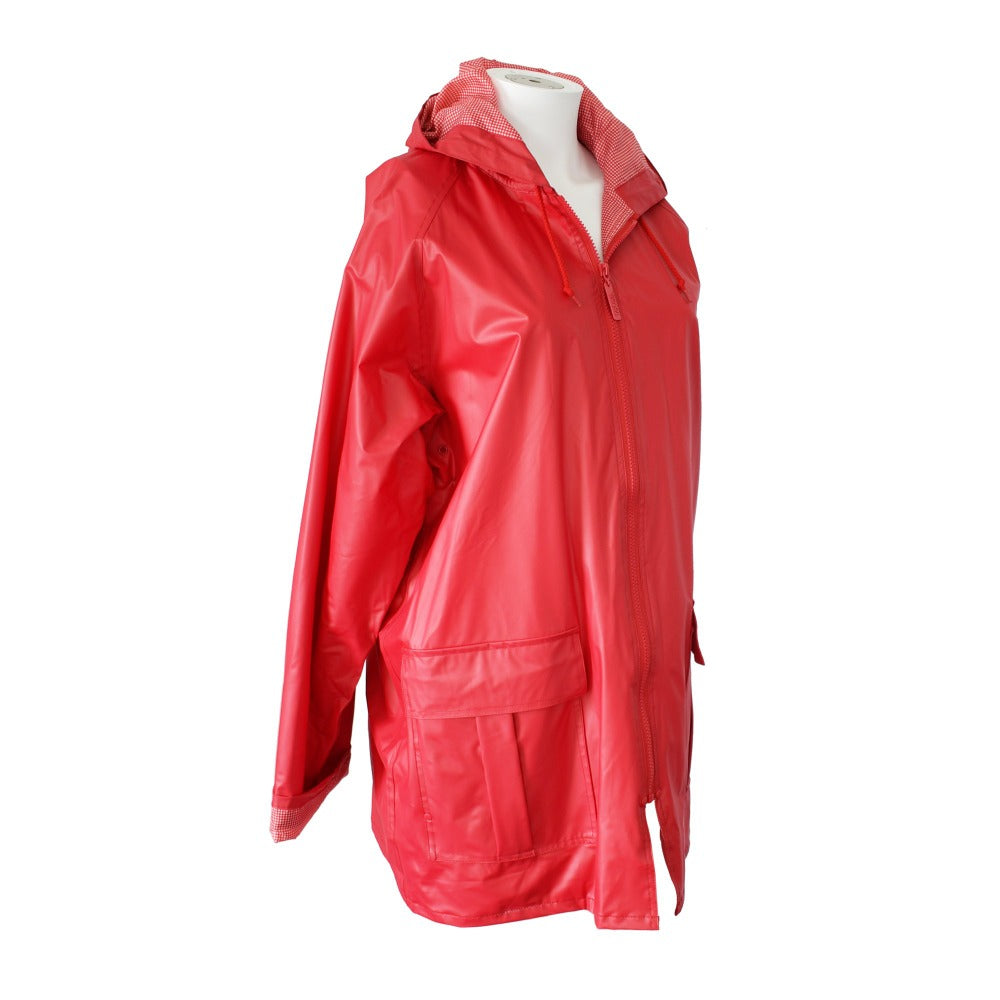 Lined Rain Slicker in Red Side Profile