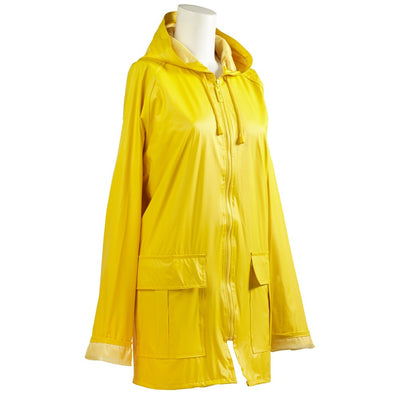 Lined Rain Slicker in Yellow Side Profile