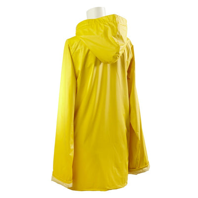 Lined Rain Slicker in Yellow Back Hood View