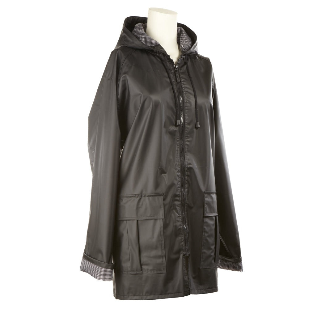 Lined Rain Slicker in Black Side Profile