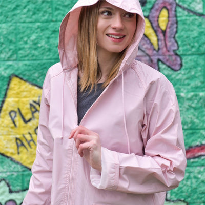Lined Rain Slicker in Blush On Model