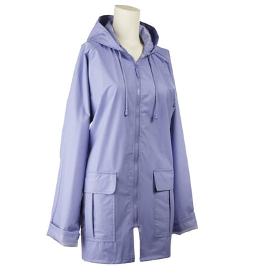 Lined Rain Slicker in Purple Side Profile