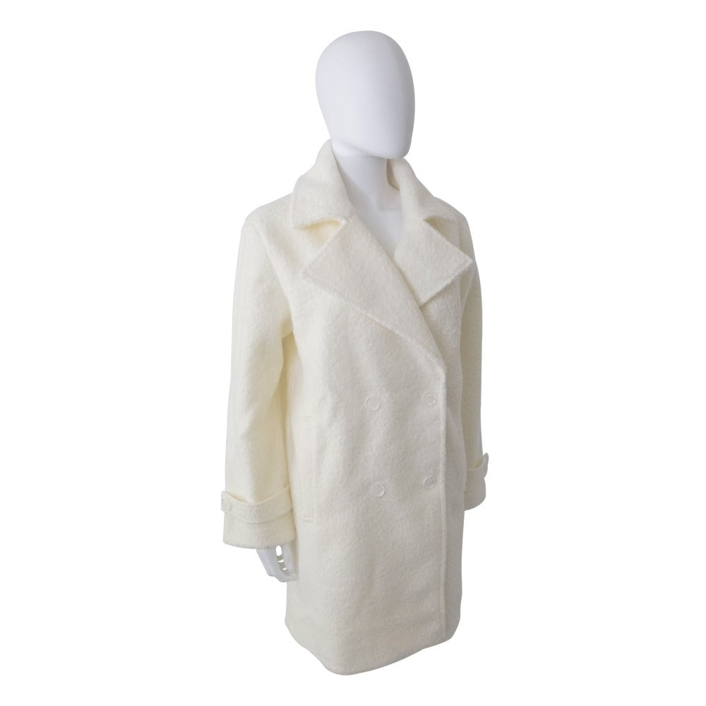 Women's Textured Peacoat in Ivory Right Angled View