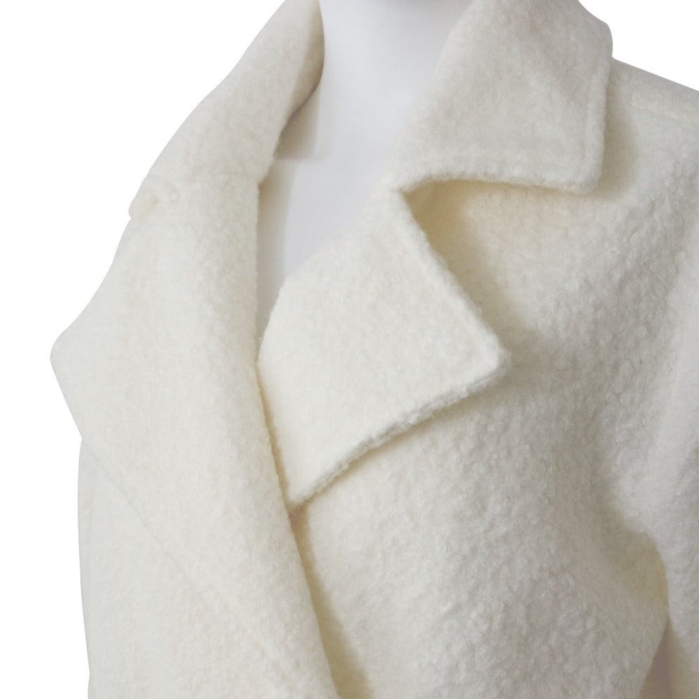 Women's Textured Peacoat in Ivory Close Up at Lapel