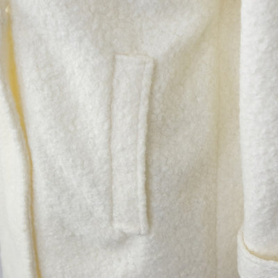 Women's Textured Peacoat in Ivory Side Pocket View
