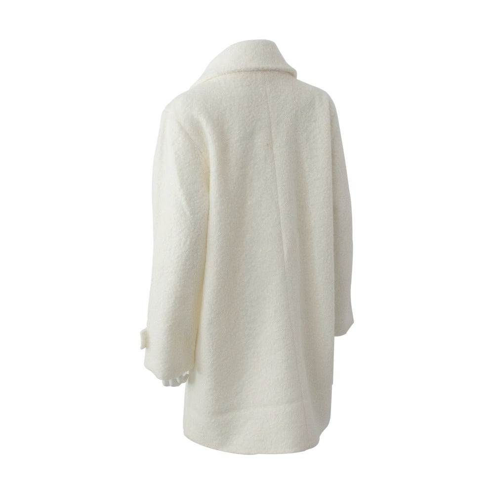 Women's Textured Peacoat in Ivory Back Left Angled View