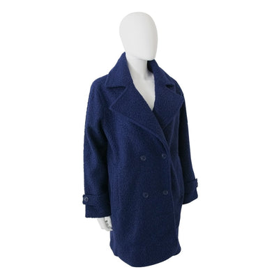 Women's Textured Peacoat in Navy Blue Right Angled View
