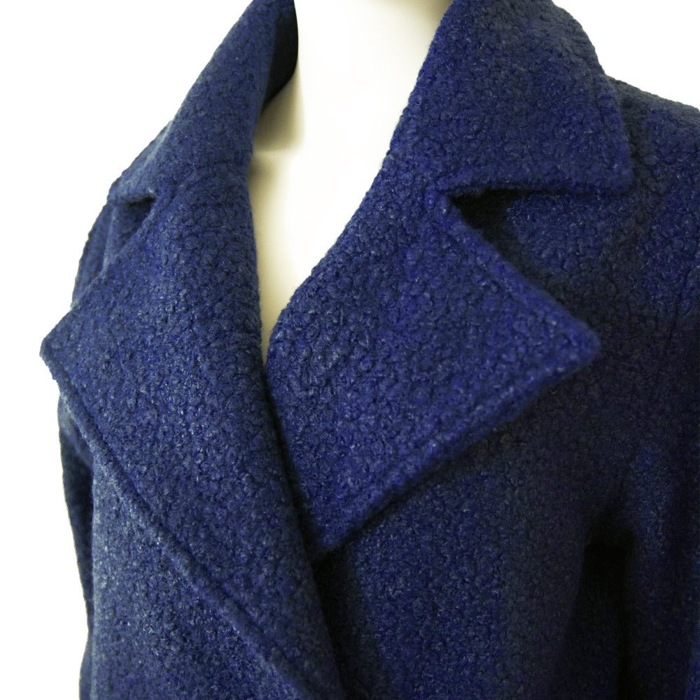 Women's Textured Peacoat in Navy Blue Close Up at Lapel