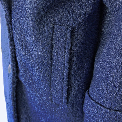 Women's Textured Peacoat in Navy Blue Close up at pocket