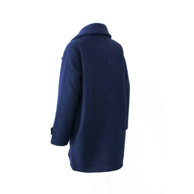 Women's Textured Peacoat in Navy Blue Back View