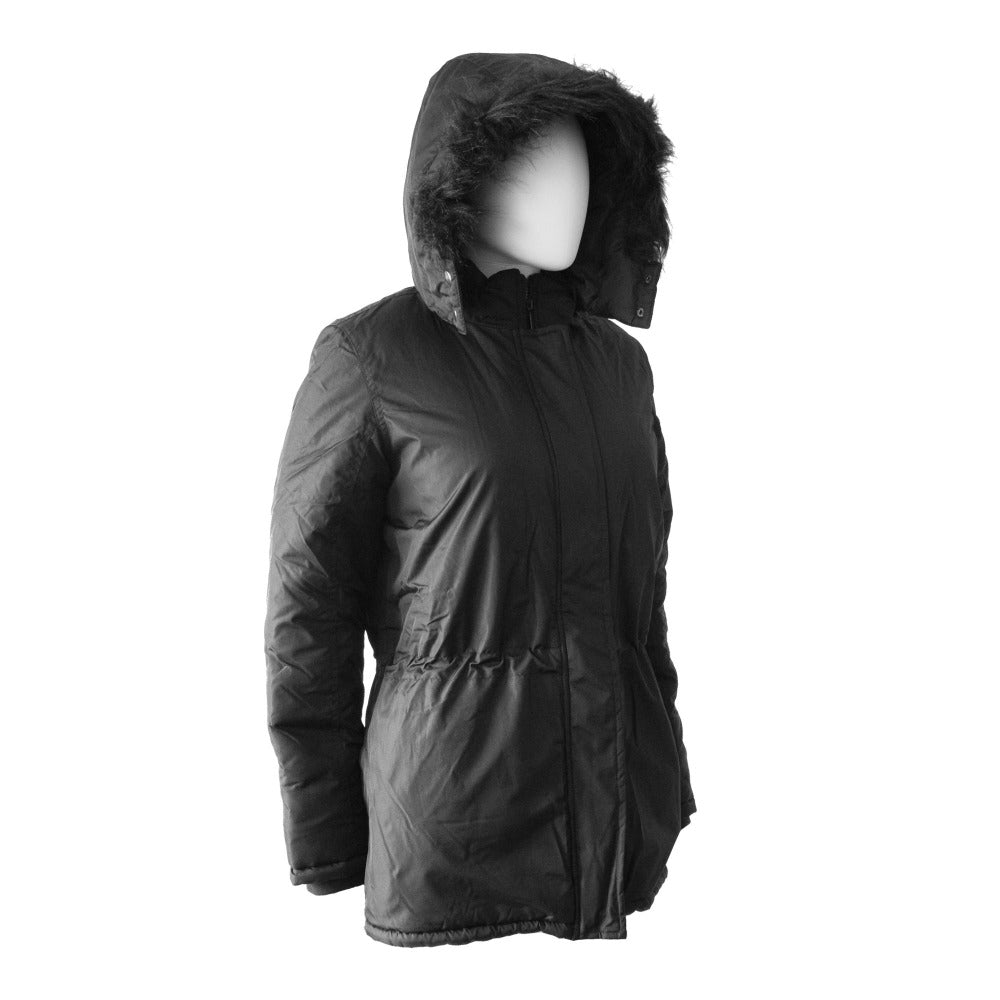 Women's Anorak with Drawstring Waist in Black Right Angled View with Hood Up