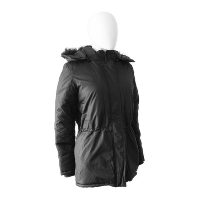Women's Anorak with Drawstring Waist in Black Right Angled View