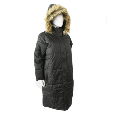 Women's Long Boxed Quilted Coat in Black Right Angled View with Hood Up