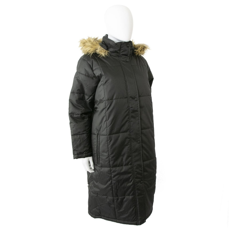 Women's Long Boxed Quilted Coat in Black Right Angled View