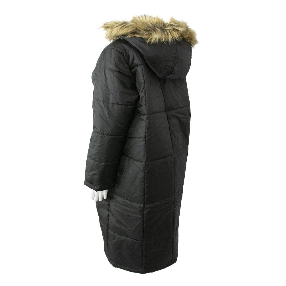 Women's Long Boxed Quilted Coat in Black Back View