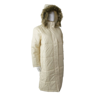Women's Long Boxed Quilted Coat in Ivory Right Angled View with Hood Up