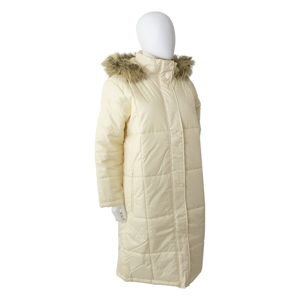 Women's Long Boxed Quilted Coat in Ivory Right Angled View
