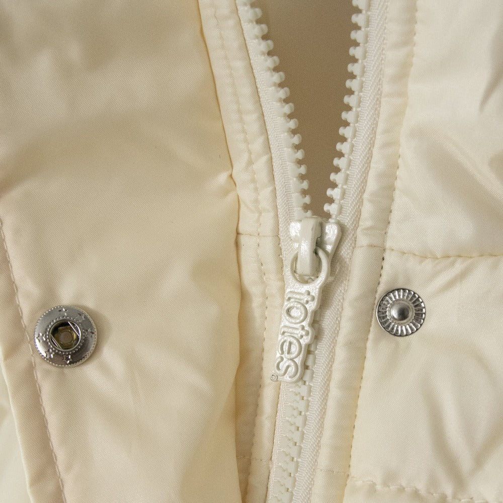 Women's Long Boxed Quilted Coat in Ivory Close Up Zipper View