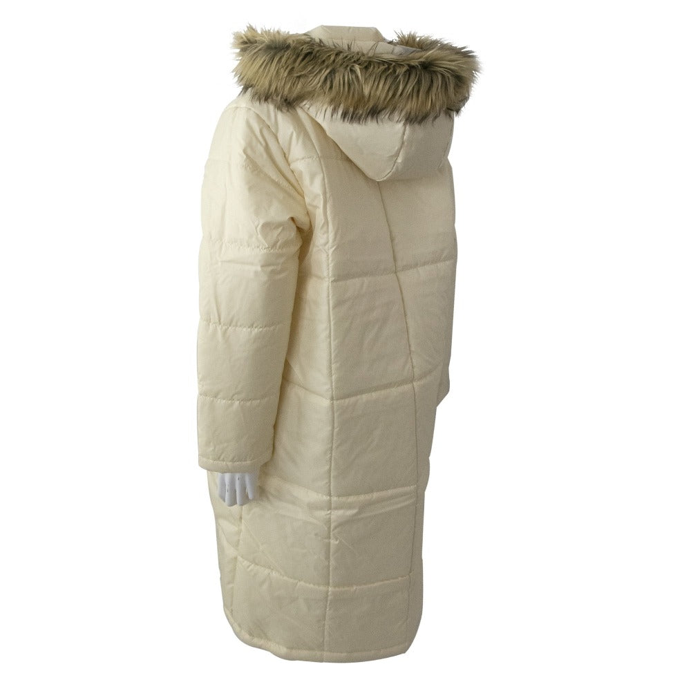 Women's Long Boxed Quilted Coat in Ivory Back View