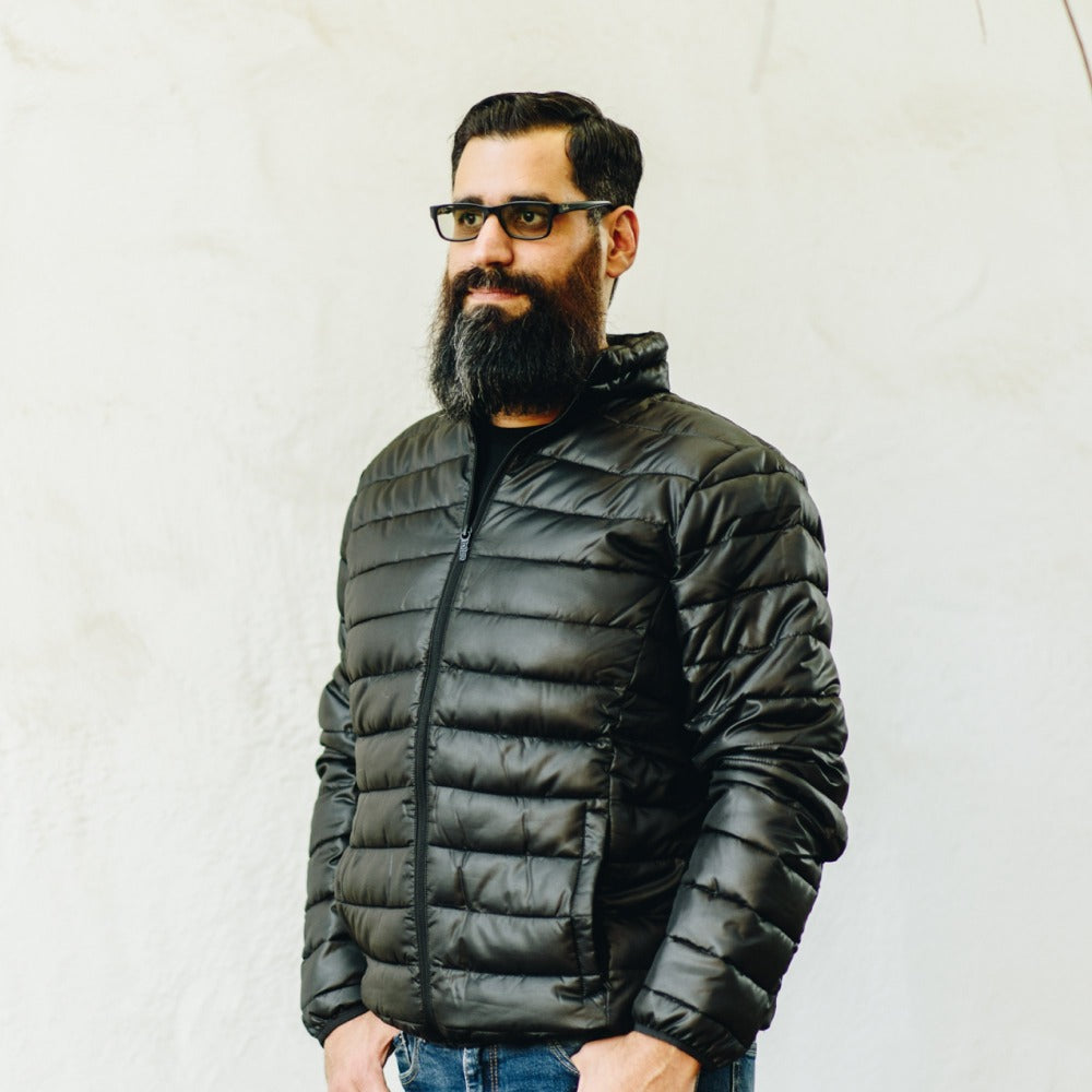 Men's Packable Puffer Jacket in black. Black winter jacket