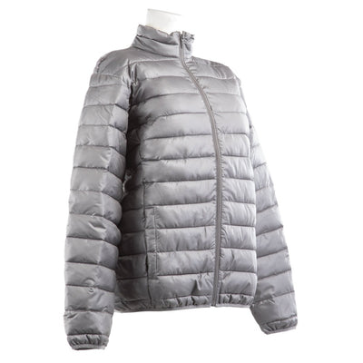 Men's Packable Puffer Jacket in Grey Right Angled View