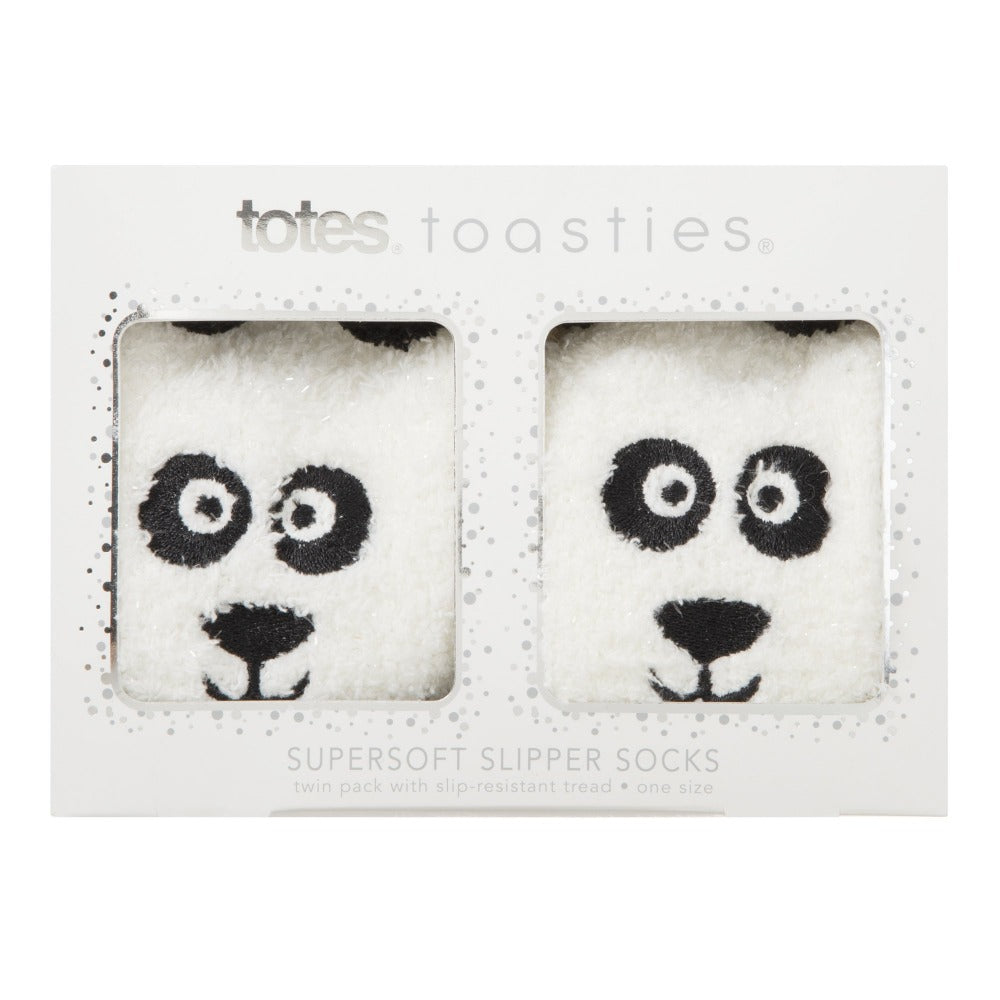 Women's 2-Pack Supersoft Novelty Toastie™ Slipper Socks in Panda in Gift Packaging