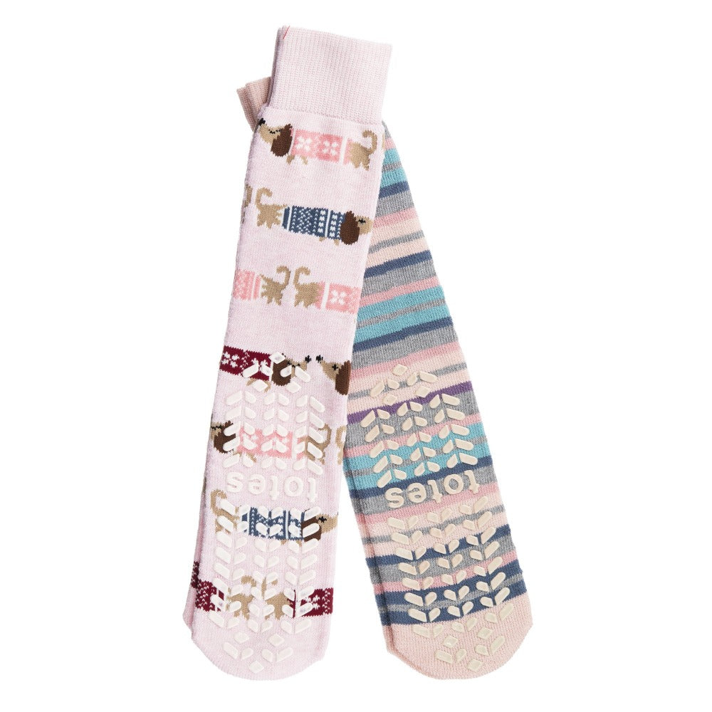 Women's 2-Pack Toastie™ Slipper Socks in Dog Print Bottom Tread
