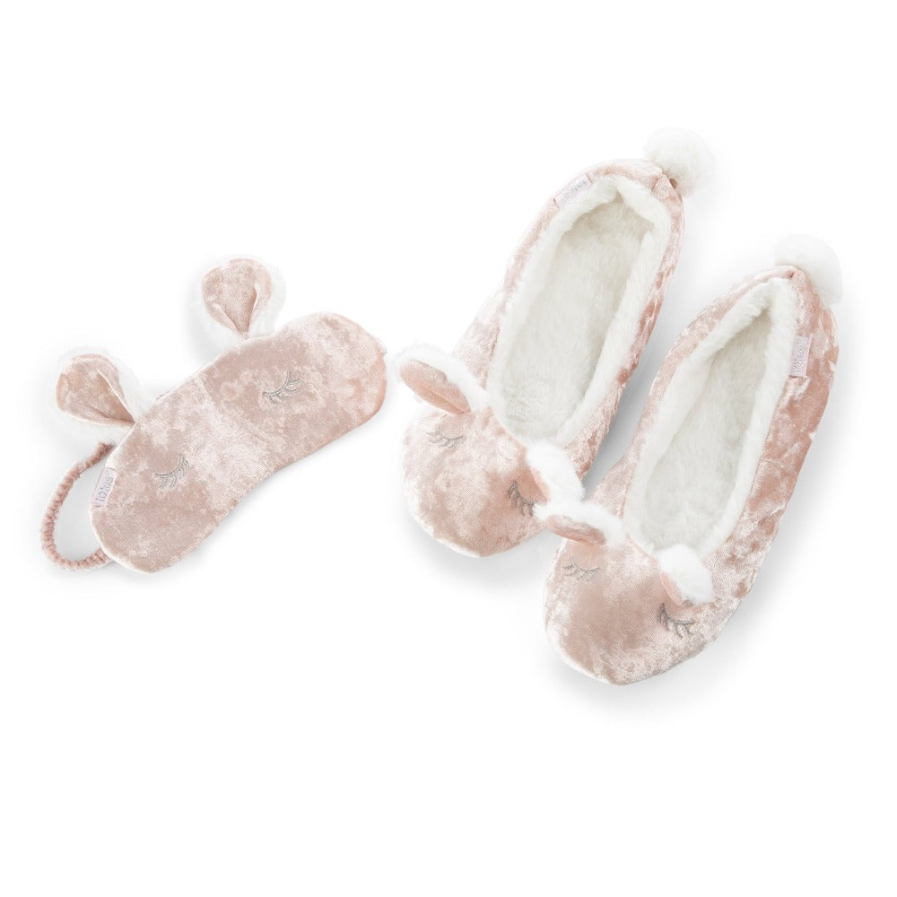 Women's Novelty Ballet Slipper and Eye Mask Set in Bunny