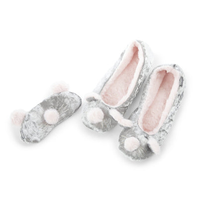 Women's Novelty Ballet Slipper and Eye Mask Set in Mouse