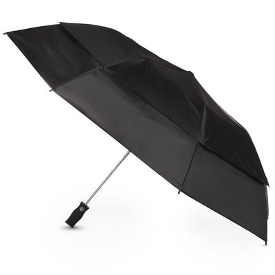 Sport Auto Open Golf Size Vented Canopy Umbrella in Black Open Side Profile