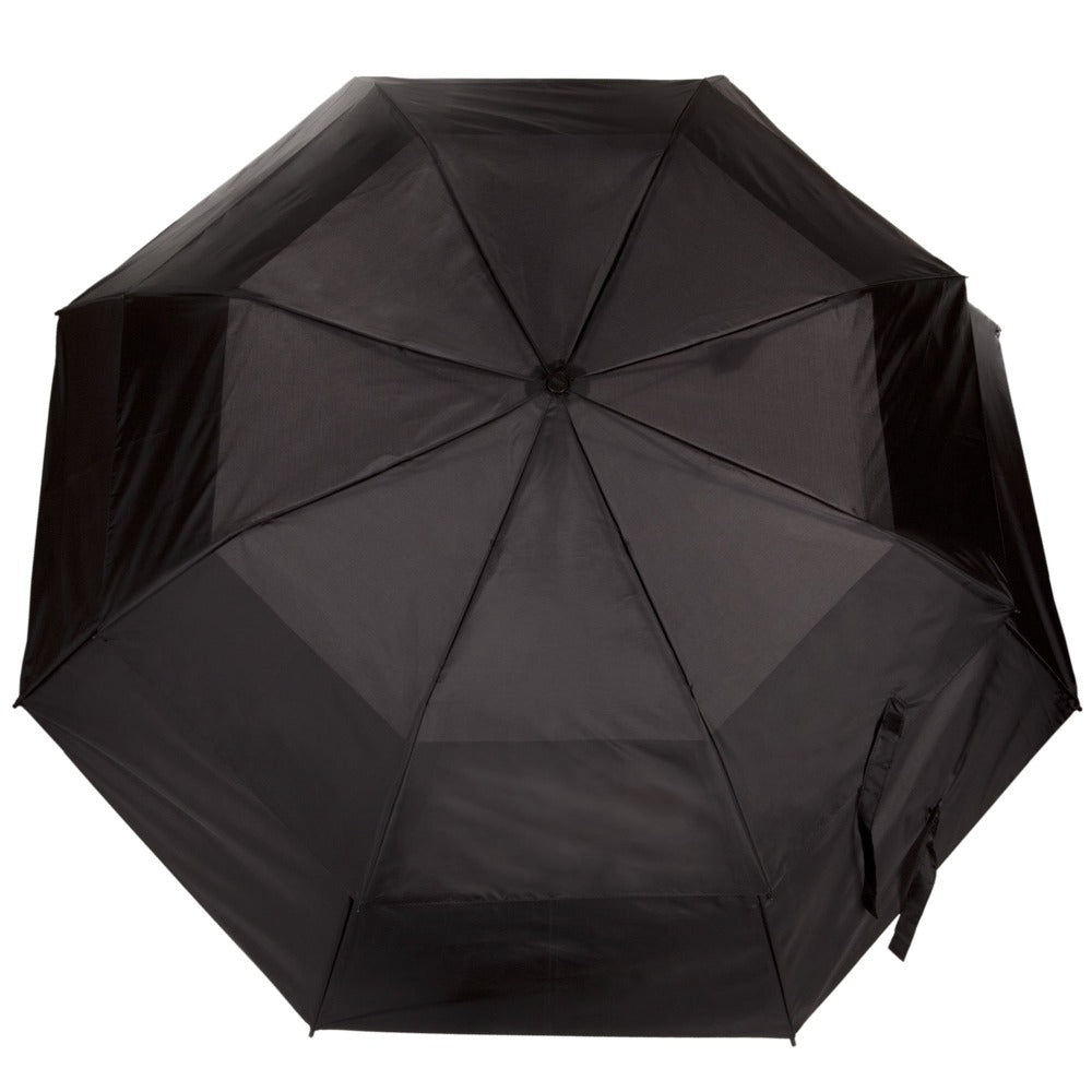 Sport Auto Open Golf Size Vented Canopy Umbrella in Black Open Top View
