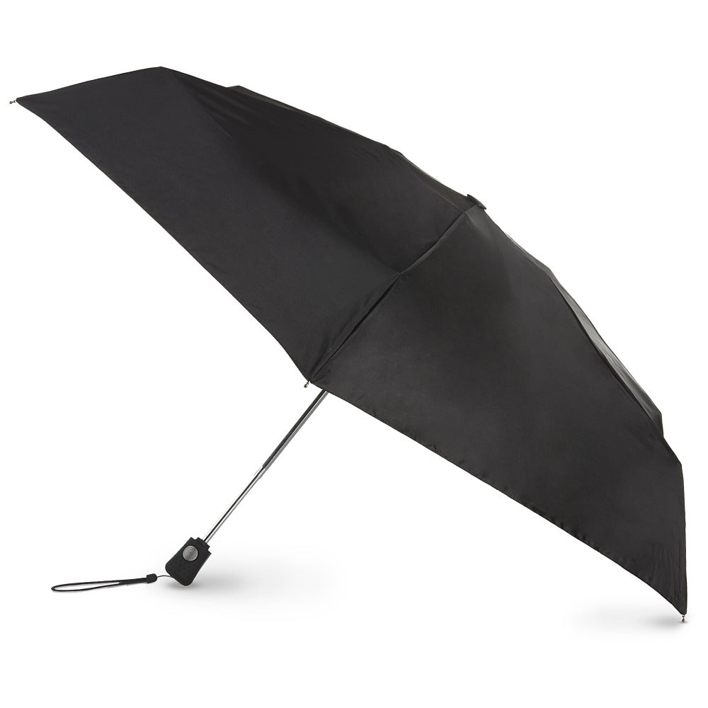 Auto Open/Close Travel Umbrella in Black Open Side Profile