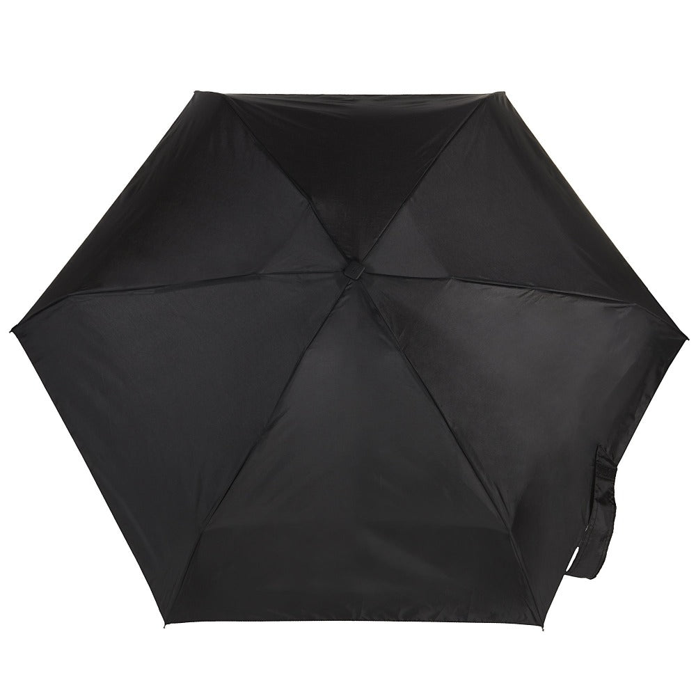 Auto Open/Close Travel Umbrella in Black Open Top View
