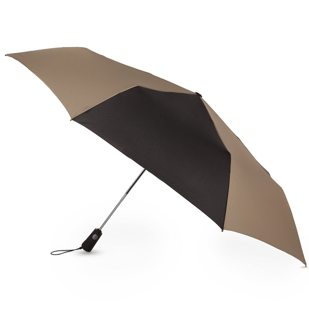 Blue Line Golf Size Auto Open/Close Umbrella in Black/Tan Open Side Profile