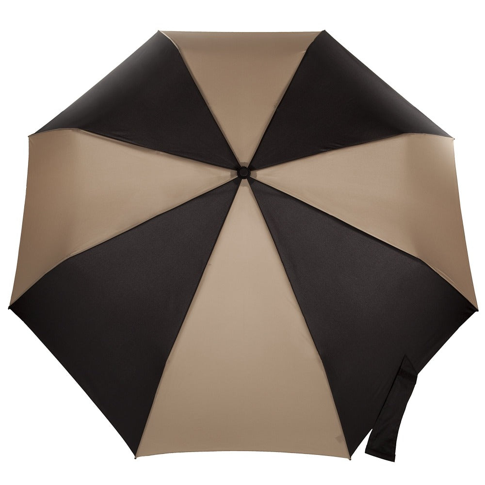 Blue Line Golf Size Auto Open/Close Umbrella in Black/Tan Open Top View