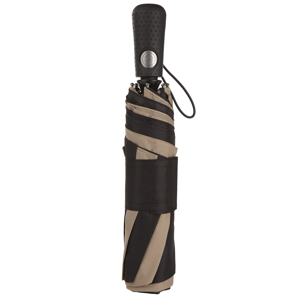 Blue Line Golf Size Auto Open/Close Umbrella in Black/Tan Closed