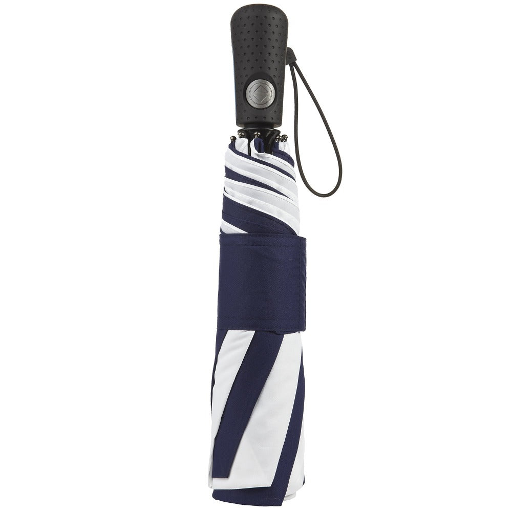 Blue Line Golf Size Auto Open/Close Umbrella in Navy/White Closed
