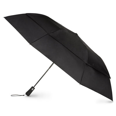 Blue Line Golf Size Auto Vented Canopy Umbrella in Black Open Side Profile